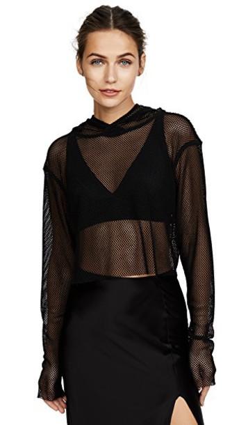 The Range hoodie cropped mesh black sweater
