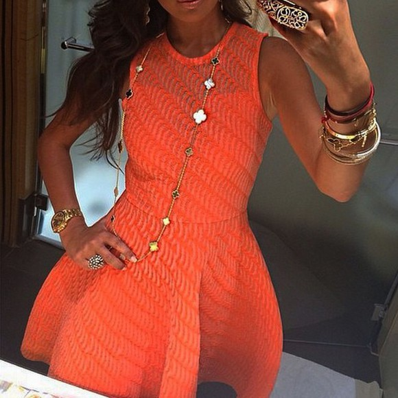 dress orange dress summer dress outfit stylish fancy coctail dress brand