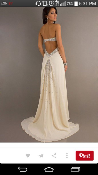 dress crystal ivory dress champagne sparkly dress prom dress prom gown white dress