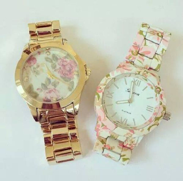 jewels watch gold gold watch flowers navy heels cute hand bag
