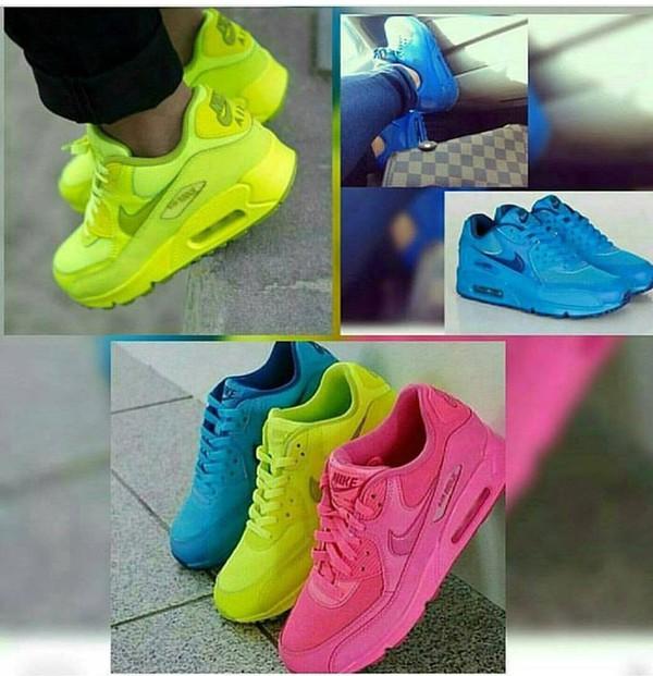 shoes, blue, all blue, blue nike air max 90 gs, nike air max