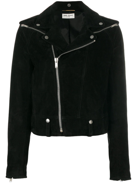 Saint Laurent jacket biker jacket women leather cotton black