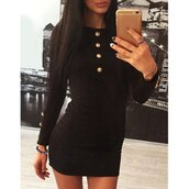 dress,fashion,black,trendy,long sleeves,Elegant Long Sleeve Buttoned Solid Color Bodycon Dress For Women,cute,hot,buttons,rose wholesale-dec
