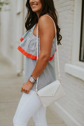 top tumblr stripes striped top one piece swimsuit bag white bag denim jeans white jeans watch bracelets jewels