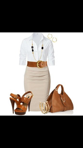 bag,skirt,blouse,purse,shoes,jewels,belt,camel pencil skirt,dress,clothes,beige,pencil skirt,office outfits,white and beige,waist belt,sandal heels,outfit