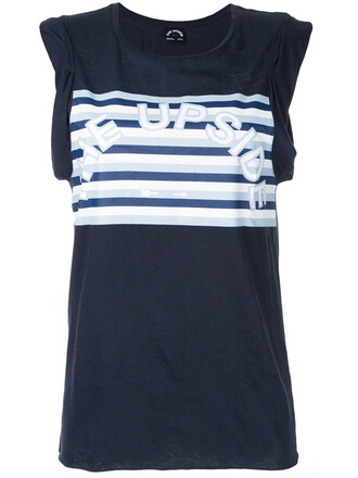 women cotton print blue top