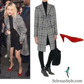 coat,fay,selena gomez,tartan,plaid,check,red shoes