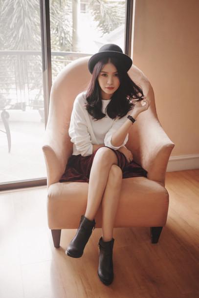 tricia gosingtian blogger top jewels shoes hat skirt