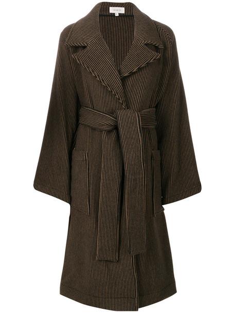 Isa Arfen - striped coat - women - Cashmere/Virgin Wool - 10, Brown, Cashmere/Virgin Wool