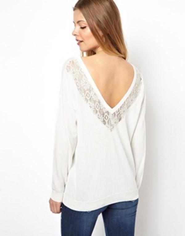 sweater white jumper coton t-shirt open back