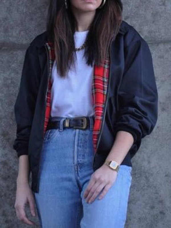 jacket Choies black red plaid lining zip up long sleeves nike bomber jacket
