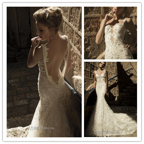 Aliexpress.com : Buy Fantasy Mermaid Maxi Wedding Dresses 2014 Backless With Beadings Lace unique Bridal Gown Appliques from Reliable wedding dresses arabic style suppliers on Suzhou Babyonlinedress Co.,Ltd