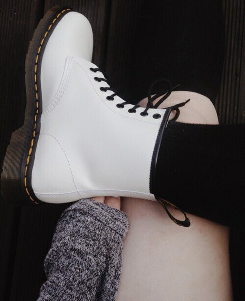 shoes DrMartens boots combat boots white DrMartens grunge punk