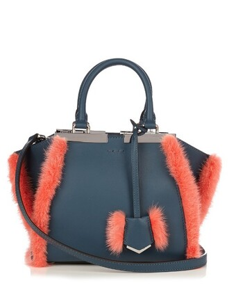 mini fur leather navy bag