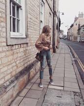 top,metallic top,jeans,blue jeans,handbag,brown handbag,sneakers,grey sneakers,bag,shoes