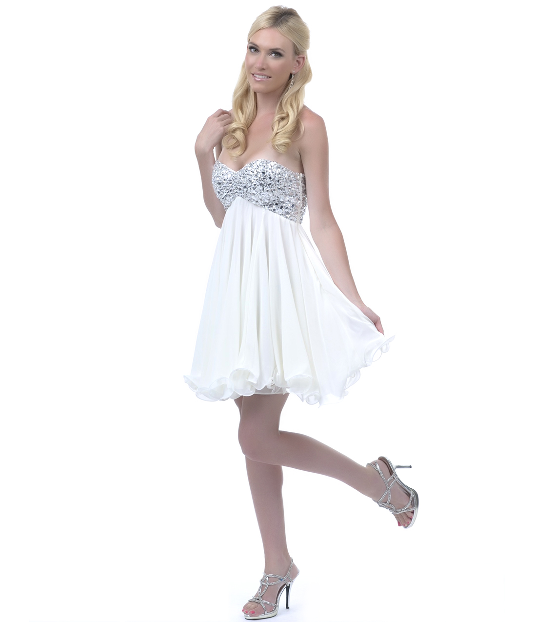 2013 Homecoming Dresses - Off White Sequin Beaded Strapless Short Homecoming Dress - Unique Vintage - Prom dresses, retro dresses, retro swimsuits.