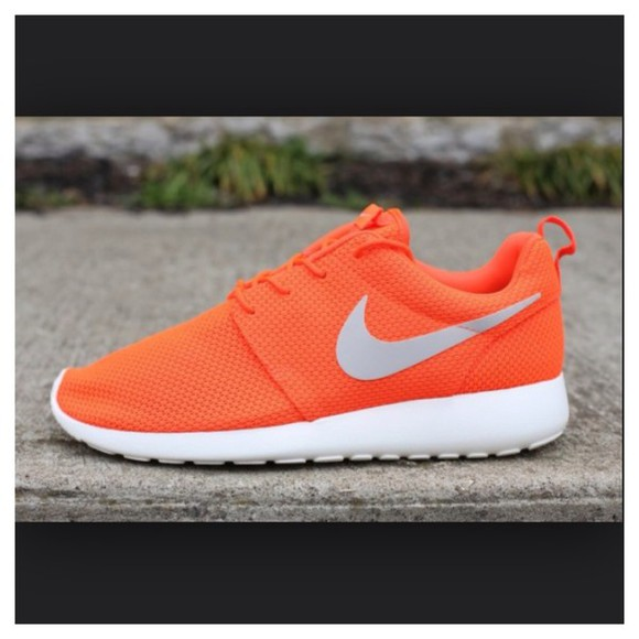 shoes orange shoes nike roshe run