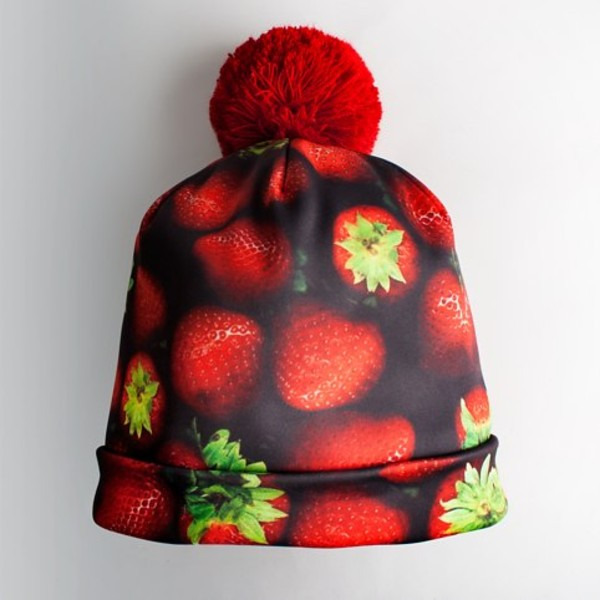 hat pom pom beanie strawberry red