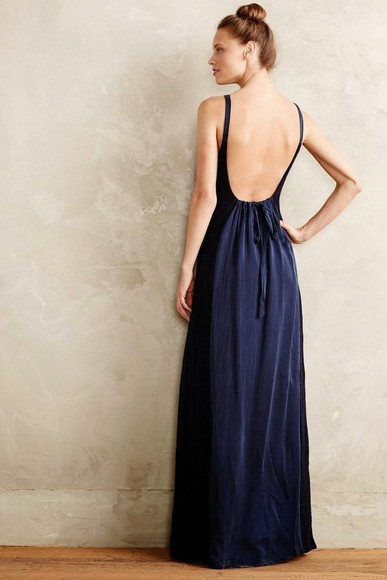 navy maxi dress dark blue backless elegant