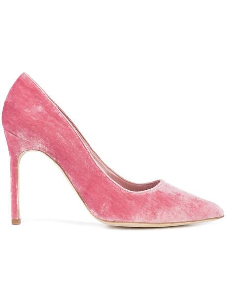 Manolo Blahnik women pumps leather velvet purple pink shoes