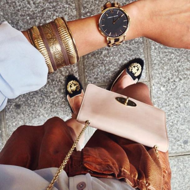 shoes black gold brown bag white bracelets