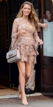dress,nude,nude dress,sandals,sandal heels,lace dress,ruffle,blake lively,purse,mini dress,shoes,beaded dress