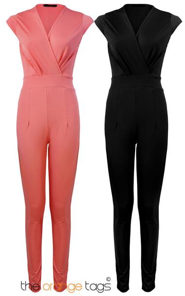 dress ladies front v neck v neck crepe jumpsuit romper coral