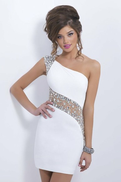 see through white dress sheath dress one shoulder prom dress homecoming dress beading jewels backless tulle mini prom sleeveless sheer
