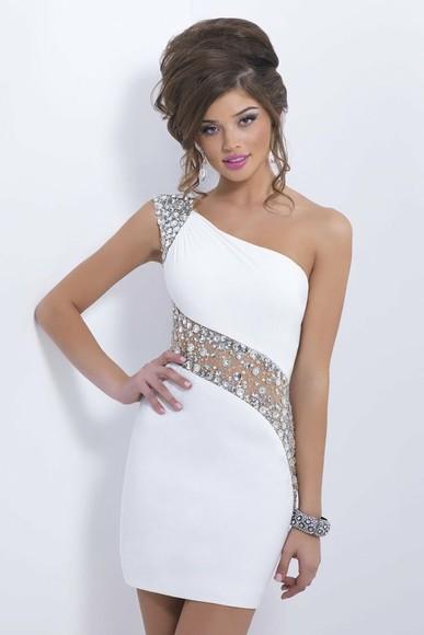 prom dress homecoming dress tulle prom backless sheer beading white dress sheath dress see through one shoulder jewels mini sleeveless
