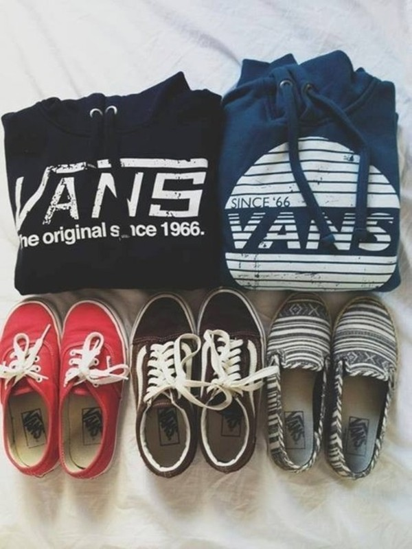 sweater sweatshirt hoodie vans the originals black fashion clothes since vans shoes printed vans vans cute warm sneakers old school pullover since 1966 used look blue hoodie