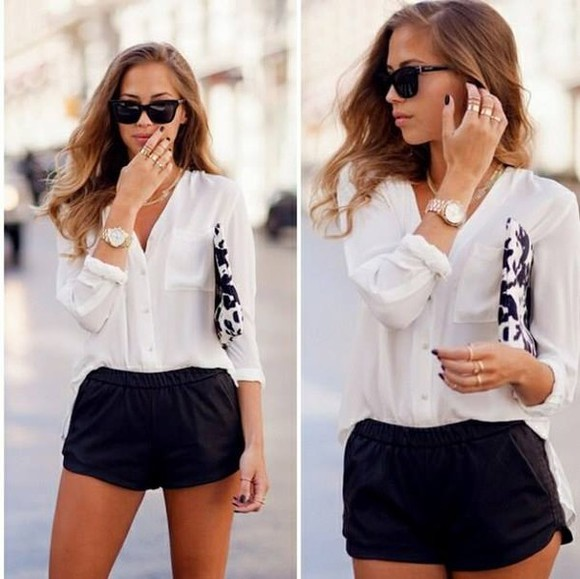 shorts black shorts white shirt white shirt sunglasses clutch black and white watch emma watson blouse