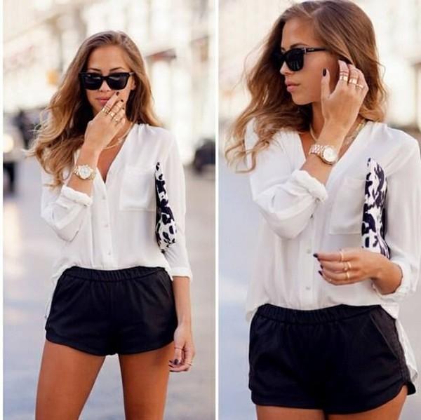shorts black shorts white shirt white shirt sunglasses clutch black and white watch blouse
