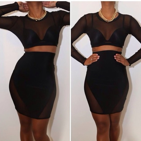 black dress little black dress sexy see through two piece set two-piece dress two piece