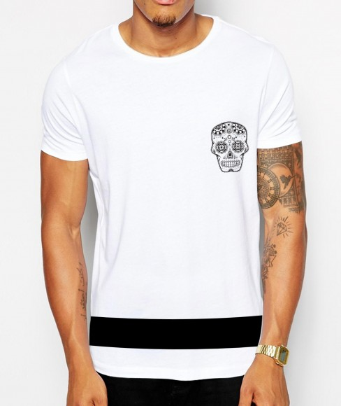 Distinkt youth candy skull band crew neck tshirt