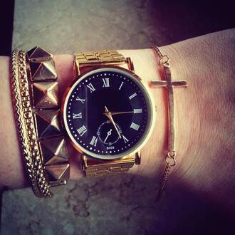 jewels watch gold black black watch