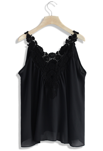 top floral crochet tank top in black chicwish crochet top black top summer top chicwish.com