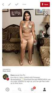 jumpsuit,champagne,gold,pants,crop tops,silk,glitter,2-pieces,choker necklace,strappy,tan