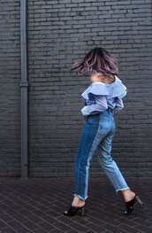 top,tumblr,stripes,striped top,off the shoulder,off the shoulder top,blue top,denim,jeans,blue jeans,patchwork,mules,shoes