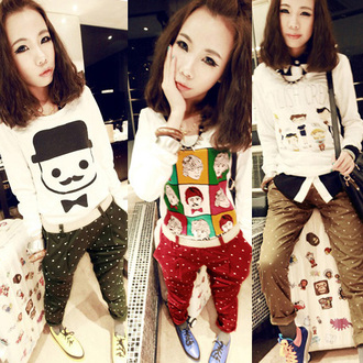 pants korean fashion harlem pants polka dot pants fashion vintage retro polka dots cuffs red tan green korean style hong kong asian