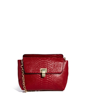 ASOS | ASOS Cross Body Bag In Croc With Chain Handle at ASOS