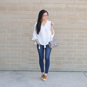morepiecesofme blogger jewels bag top shoes white blouse blouse chanel bag skinny jeans espadrilles