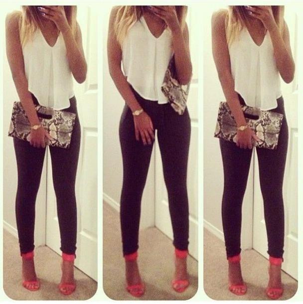 blouse white top leggings