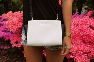 bag michael kors black white leather