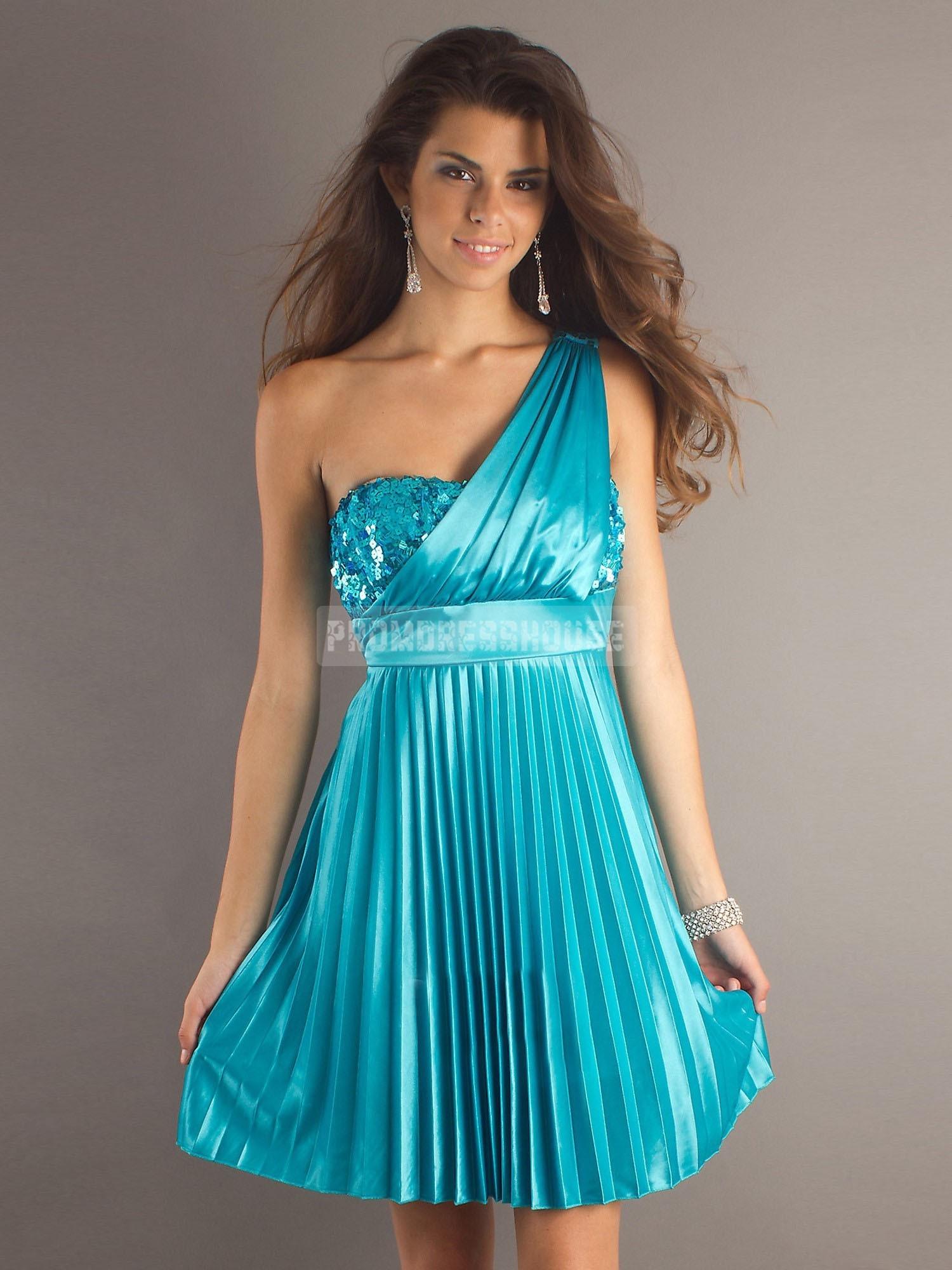 One Shoulder Paillette Like Modern Blue Prom Dress - Promdresshouse.com