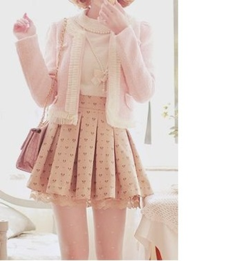 jacket blouse cardigan rose beige cute sweet girly pastel chain key ribbon korean fashion kstyle japanese playful accessories korean style skirt