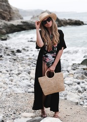 coat,hat,tumblr,cover up,swimwear,one piece swimsuit,floral,floral swimsuit,bag,beach bag,sun hat,summer accessories,summer,sunglasses