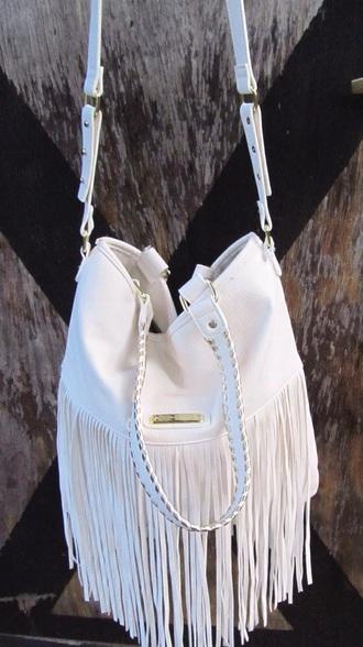 bag white fringes handbag purses