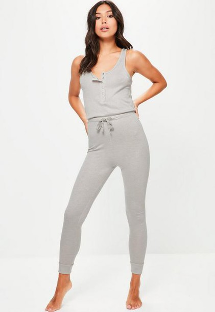Missguided Grey Loungewear Ribbed Romper