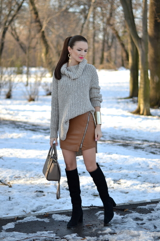 my silk fairytale blogger oversized turtleneck sweater knitted sweater cuff bracelet leather skirt zip