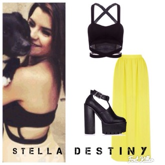 dress yellow skirt long skirt top black top heels long skirt and fashion long skirts n tops like this xxxx